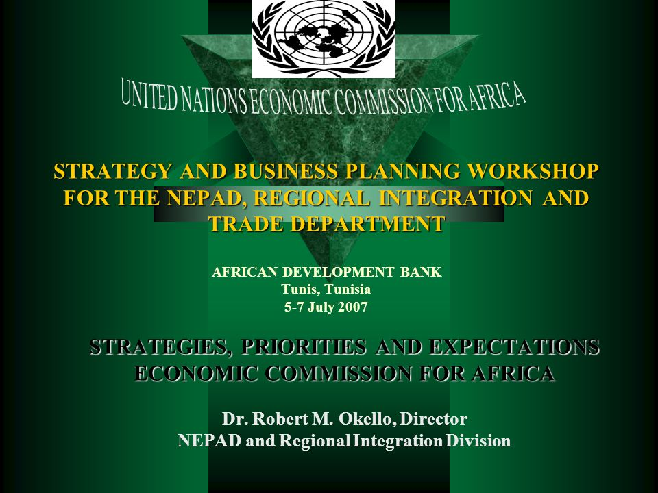 16.01.2014 11:32:05ROkello@uneca.org2 Outline Africas Development Challenges Mandate of ECA Strategic Framework Programme Structure NEPAD and Regional Integration Division Partnership Collaboration with ADB