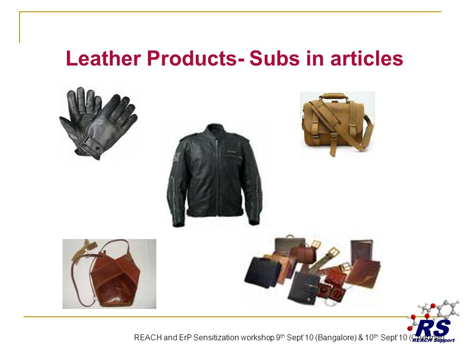 Leather Products- Subs in articles REACH and ErP Sensitization workshop 9 th Sept10 (Bangalore) & 10 th Sept10 (Chennai)