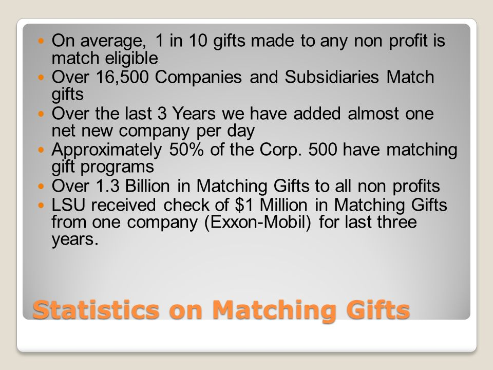 Statistics on Matching Gifts On average, 1 in 10 gifts made to any non profit is match eligible Over 16,500 Companies and Subsidiaries Match gifts Over the last 3 Years we have added almost one net new company per day Approximately 50% of the Corp.