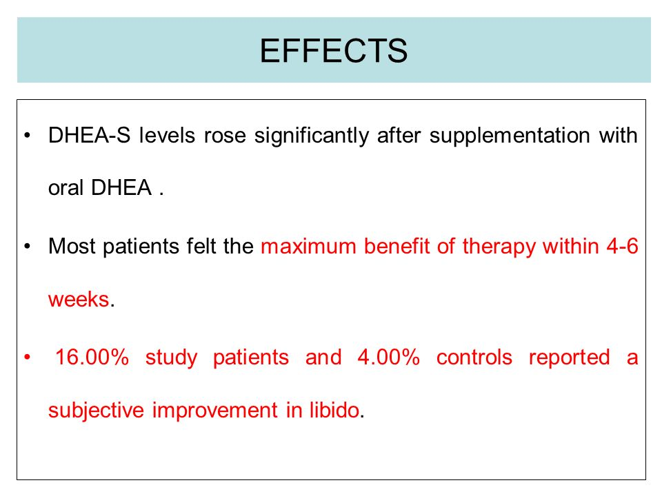 EFFECTS DHEA-S levels rose significantly after supplementation with oral DHEA.