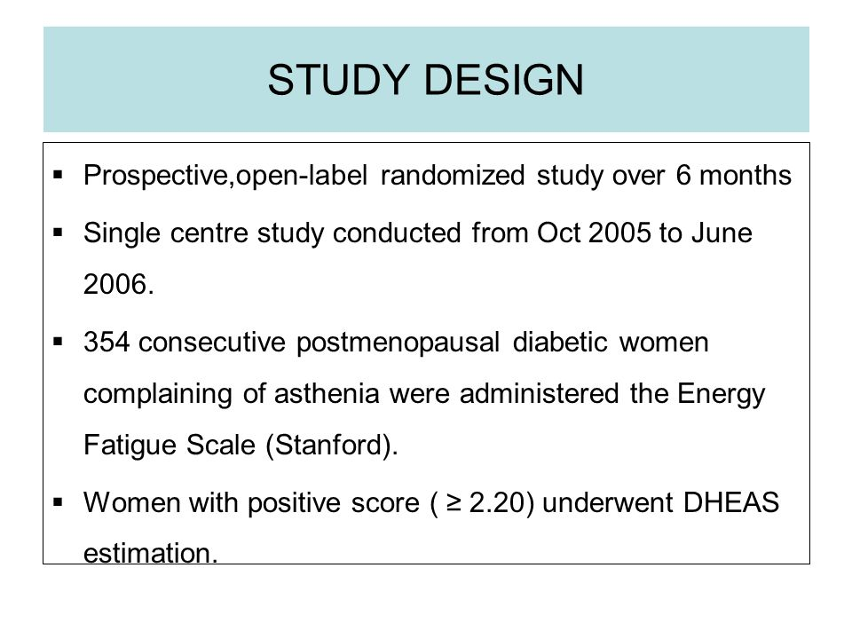 STUDY DESIGN Prospective,open-label randomized study over 6 months Single centre study conducted from Oct 2005 to June 2006.