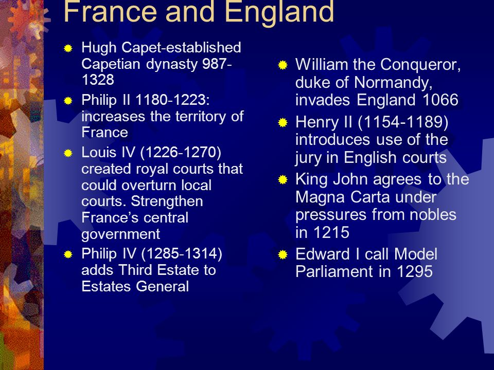 France and England Hugh Capet-established Capetian dynasty 987- 1328 Philip II 1180-1223: increases the territory of France Louis IV (1226-1270) creat