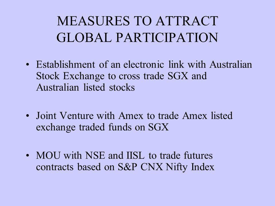Establishment of an electronic link with Australian Stock Exchange to cross trade SGX and Australian listed stocks Joint Venture with Amex to trade Amex listed exchange traded funds on SGX MOU with NSE and IISL to trade futures contracts based on S&P CNX Nifty Index MEASURES TO ATTRACT GLOBAL PARTICIPATION