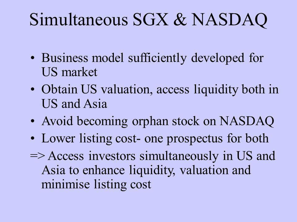 Simultaneous SGX & NASDAQ Business model sufficiently developed for US market Obtain US valuation, access liquidity both in US and Asia Avoid becoming orphan stock on NASDAQ Lower listing cost- one prospectus for both => Access investors simultaneously in US and Asia to enhance liquidity, valuation and minimise listing cost