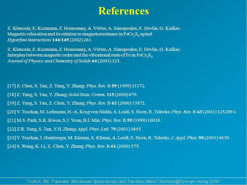 References Z. Klencsár, E. Kuzmann, Z. Homonnay, A.