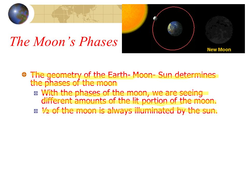 The Moons Phases The geometry of the Earth- Moon- Sun determines the phases of the moon With the phases of the moon, we are seeing different amounts of the lit portion of the moon.