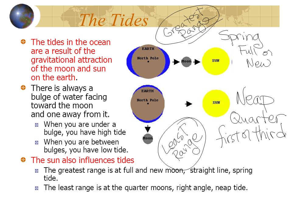 The Tides The tides in the ocean are a result of the gravitational attraction of the moon and sun on the earth.