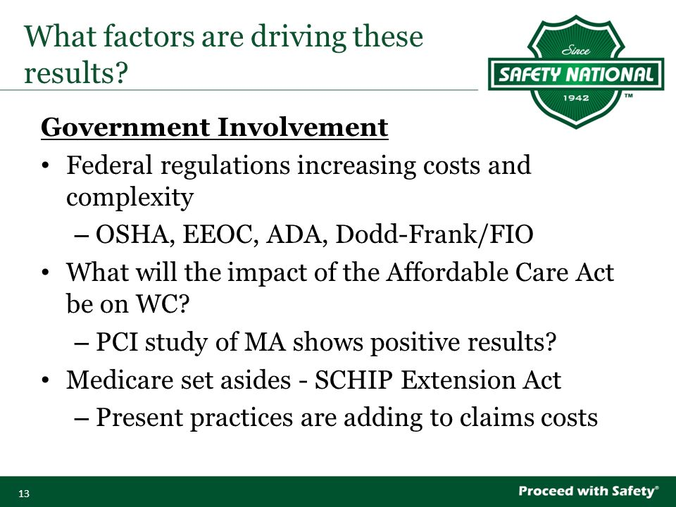 13 Government Involvement Federal regulations increasing costs and complexity – OSHA, EEOC, ADA, Dodd-Frank/FIO What will the impact of the Affordable Care Act be on WC.