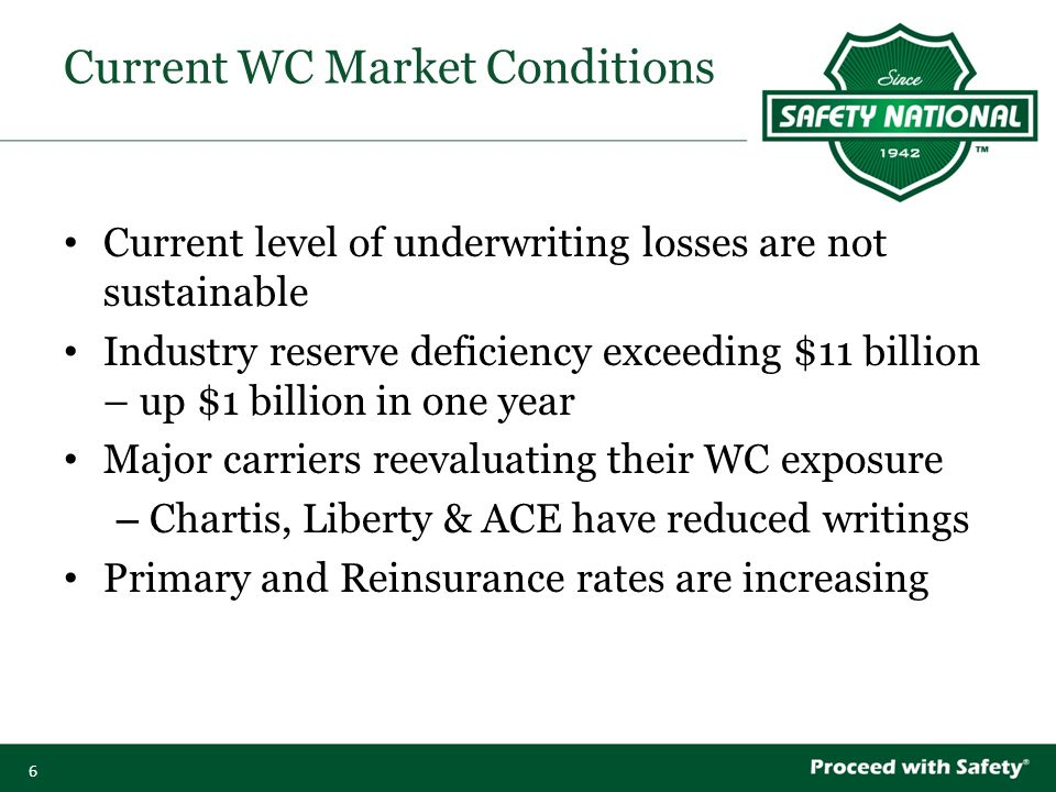 6 Current level of underwriting losses are not sustainable Industry reserve deficiency exceeding $11 billion – up $1 billion in one year Major carriers reevaluating their WC exposure – Chartis, Liberty & ACE have reduced writings Primary and Reinsurance rates are increasing Current WC Market Conditions