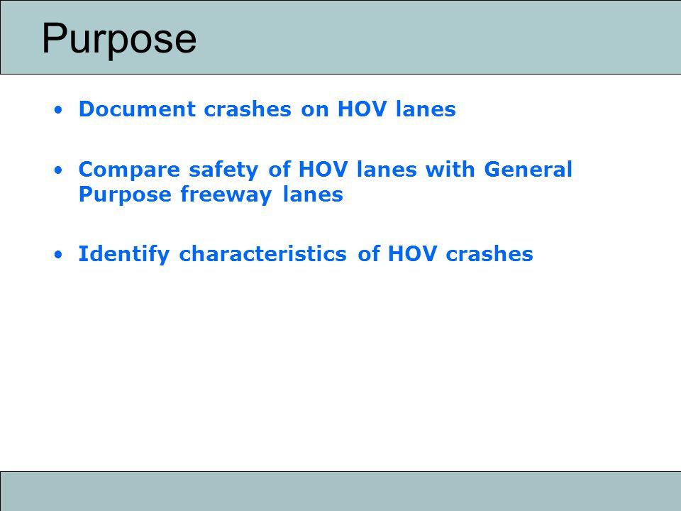 Data sources METRO HOV crash data 2001-2004 DPS freeway crash data 1999-2001
