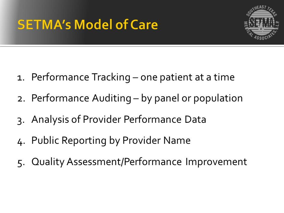1.Performance Tracking – one patient at a time 2.Performance Auditing – by panel or population 3.Analysis of Provider Performance Data 4.Public Report