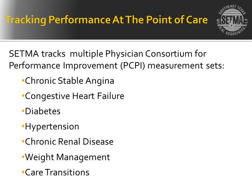 SETMA tracks multiple Physician Consortium for Performance Improvement (PCPI) measurement sets: Chronic Stable Angina Congestive Heart Failure Diabete