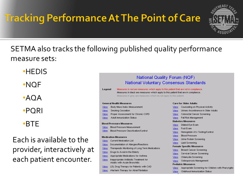 SETMA also tracks the following published quality performance measure sets: HEDIS NQF AQA PQRI BTE Each is available to the provider, interactively at
