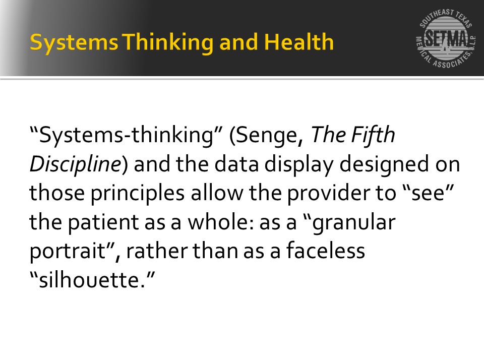 Systems-thinking (Senge, The Fifth Discipline) and the data display designed on those principles allow the provider to see the patient as a whole: as