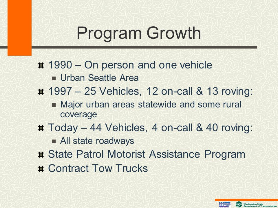 Program Growth 1990 – On person and one vehicle Urban Seattle Area 1997 – 25 Vehicles, 12 on-call & 13 roving: Major urban areas statewide and some ru