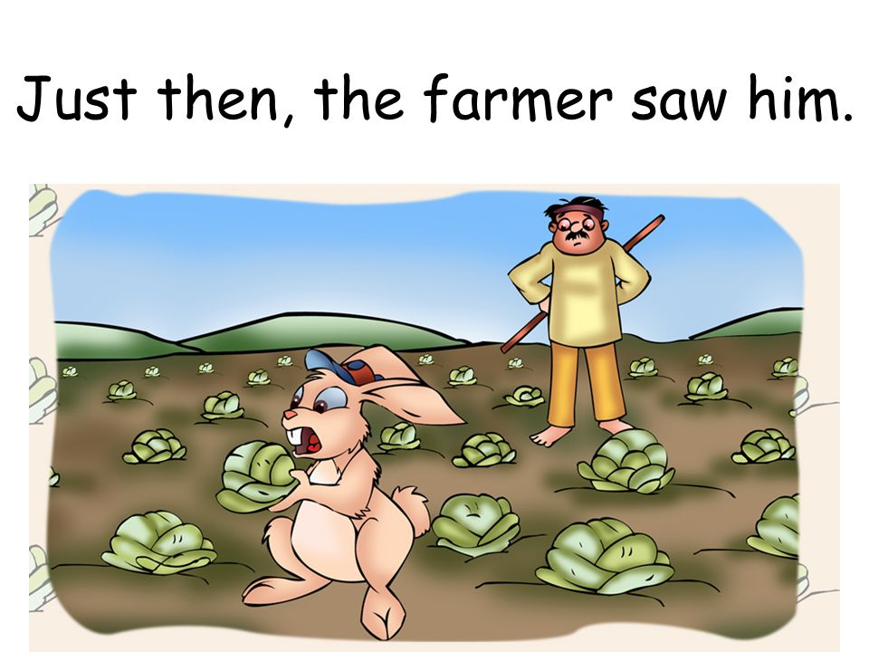 Just then, the farmer saw him.