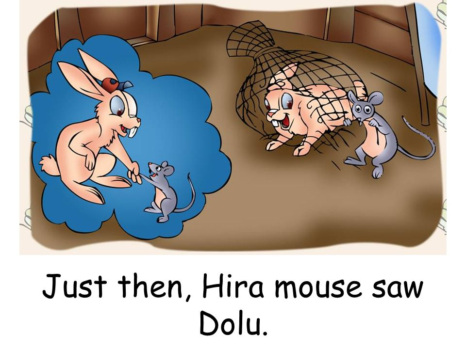 Just then, Hira mouse saw Dolu.