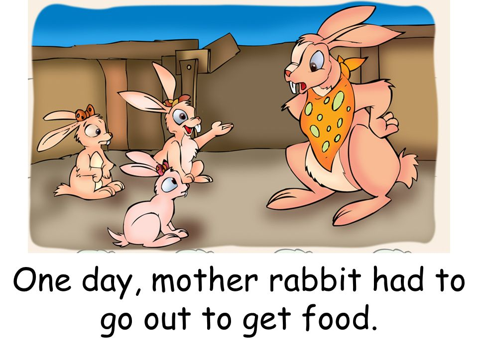 One day, mother rabbit had to go out to get food.