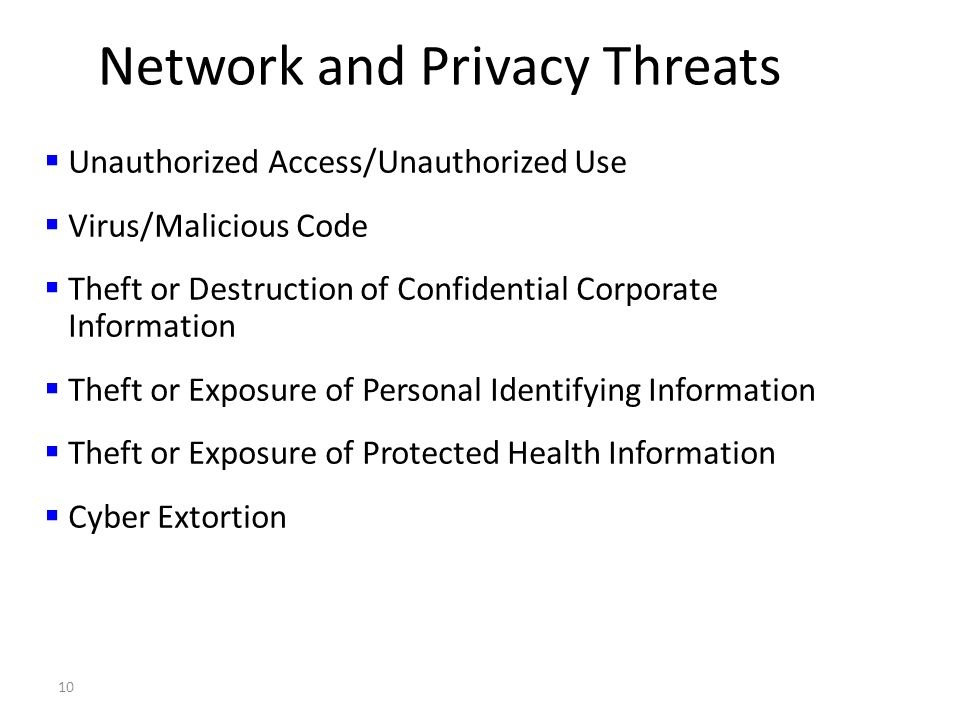 10 Network and Privacy Threats Unauthorized Access/Unauthorized Use Virus/Malicious Code Theft or Destruction of Confidential Corporate Information Theft or Exposure of Personal Identifying Information Theft or Exposure of Protected Health Information Cyber Extortion