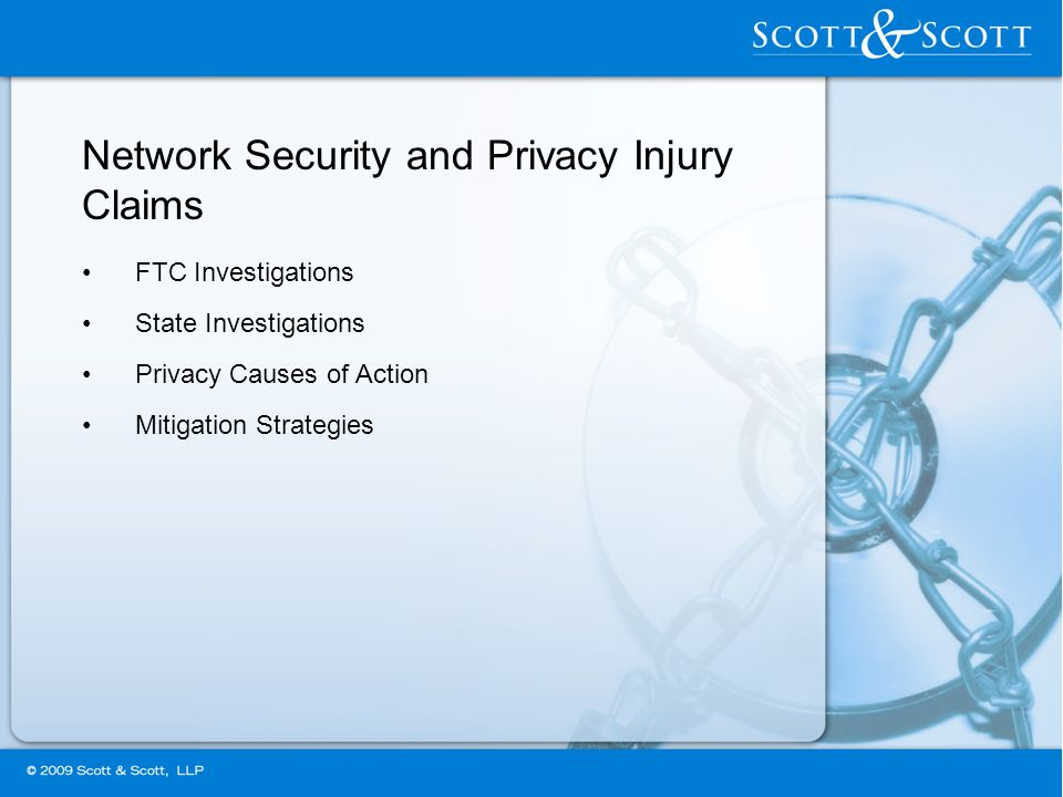 Network Security and Privacy Injury Claims FTC Investigations State Investigations Privacy Causes of Action Mitigation Strategies
