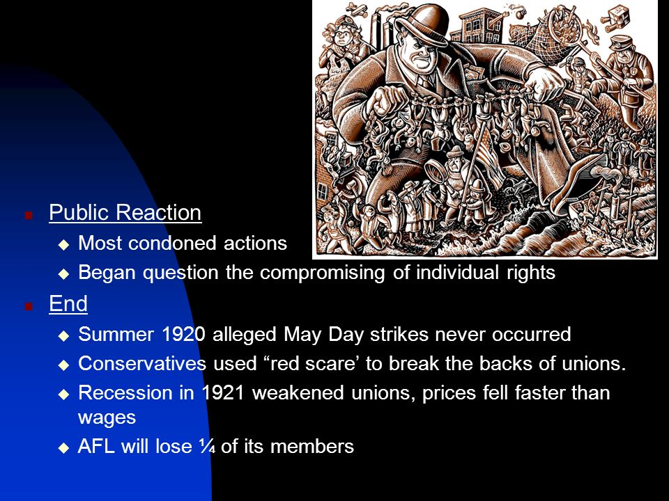 Public Reaction Most condoned actions Began question the compromising of individual rights End Summer 1920 alleged May Day strikes never occurred Cons