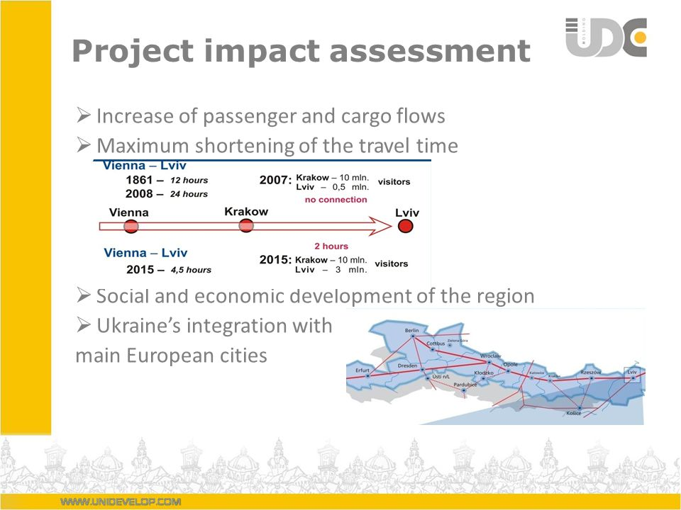 Project impact assessment Increase of passenger and cargo flows Maximum shortening of the travel time Social and economic development of the region Ukraines integration with main European cities