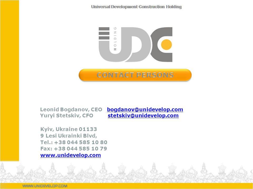 Leonid Bogdanov, CEO bogdanov@unidevelop.combogdanov@unidevelop.com Yuryi Stetskiv, CFO stetskiv@unidevelop.comstetskiv@unidevelop.com Kyiv, Ukraine 0