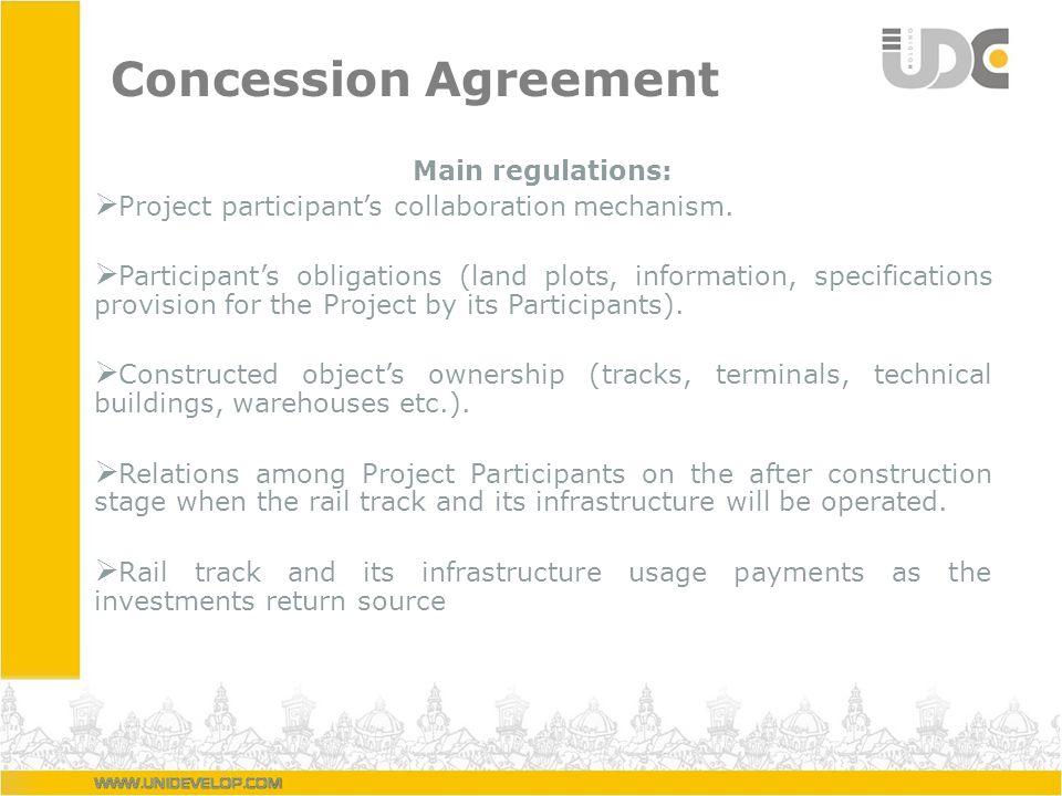 Concession Agreement Main regulations: Project participants collaboration mechanism. Participants obligations (land plots, information, specifications
