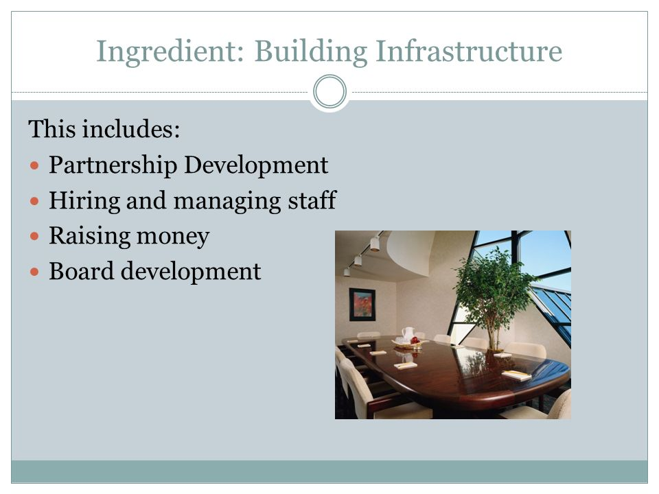 Ingredient: Building Infrastructure This includes: Partnership Development Hiring and managing staff Raising money Board development