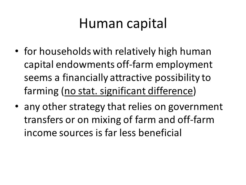 Human capital for households with relatively high human capital endowments off-farm employment seems a financially attractive possibility to farming (no stat.