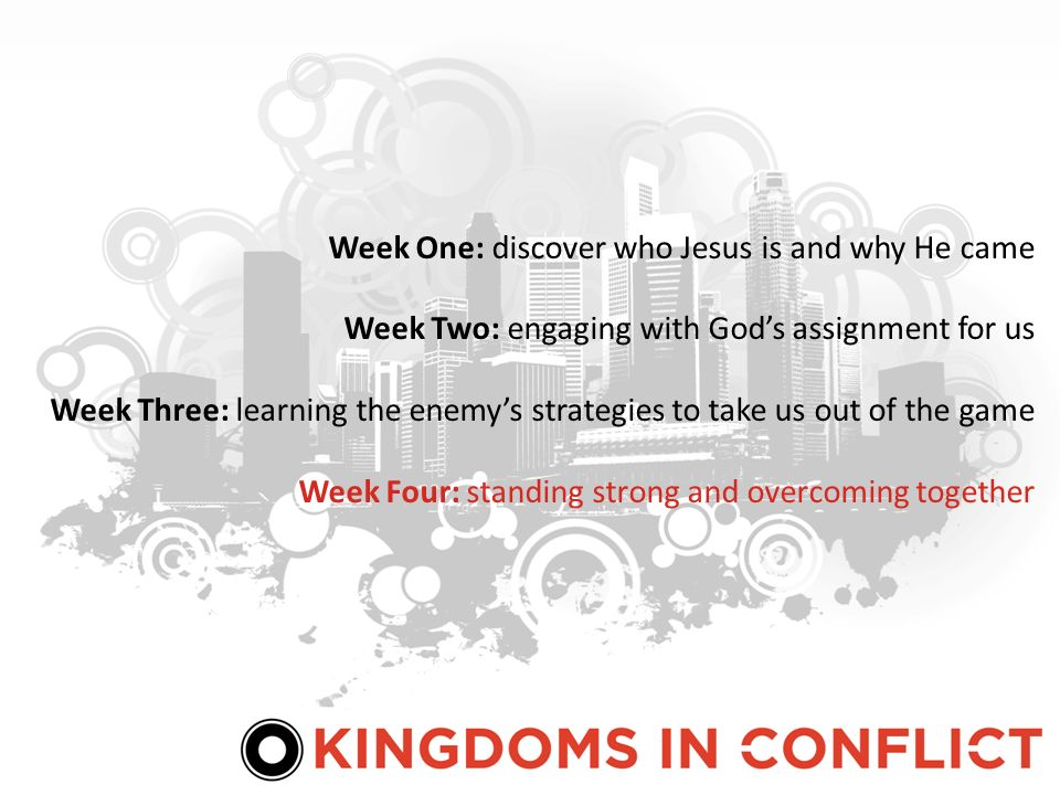Week One: discover who Jesus is and why He came Week Two: engaging with Gods assignment for us Week Three: learning the enemys strategies to take us out of the game Week Four: standing strong and overcoming together