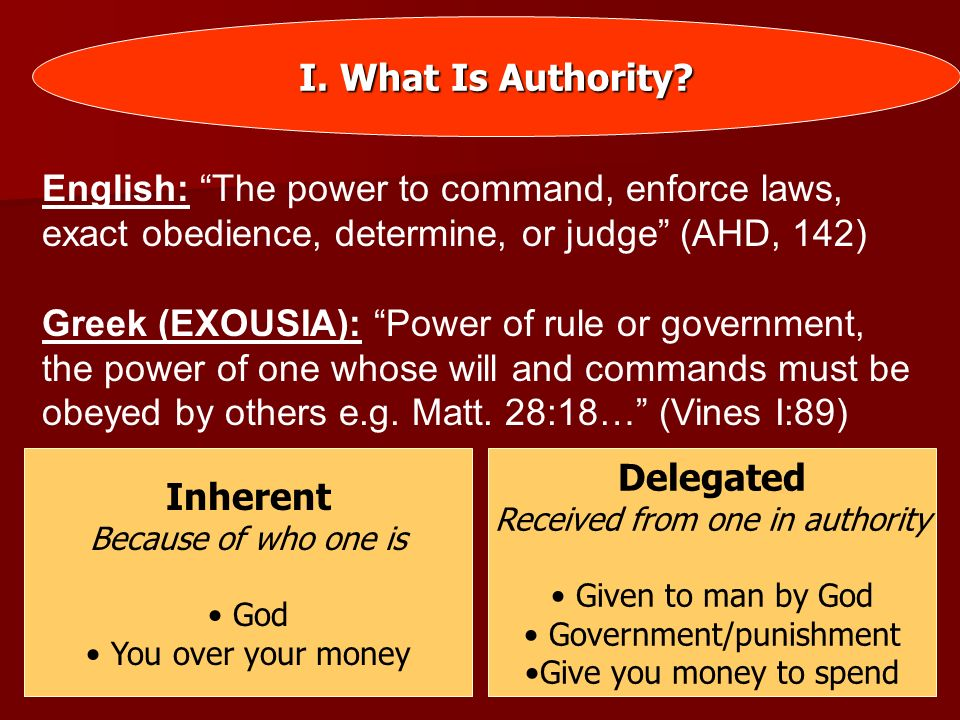 II.God Has Authority Over Man Because He Is God God (Exo.