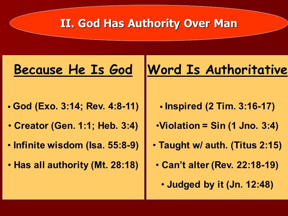 III.We Must Have Bible Authority God Has A Pattern Heb.