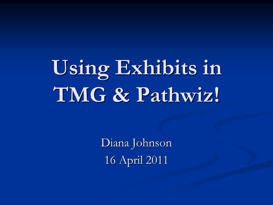 Using Exhibits in TMG & Pathwiz! Diana Johnson 16 April 2011