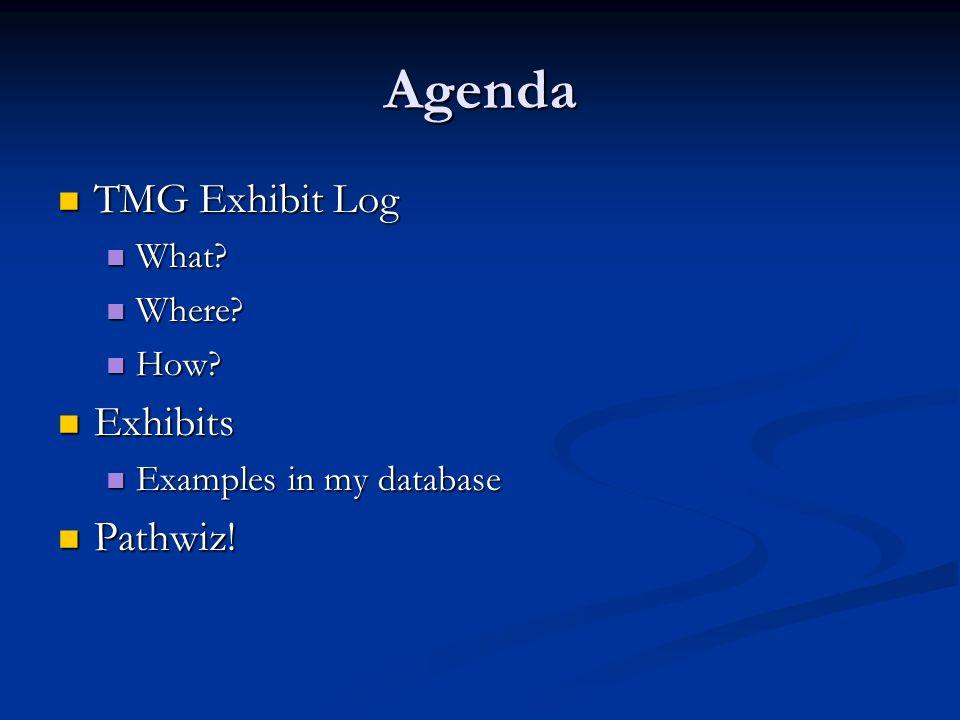 Agenda TMG Exhibit Log TMG Exhibit Log What? What? Where? Where? How? How? Exhibits Exhibits Examples in my database Examples in my database Pathwiz!