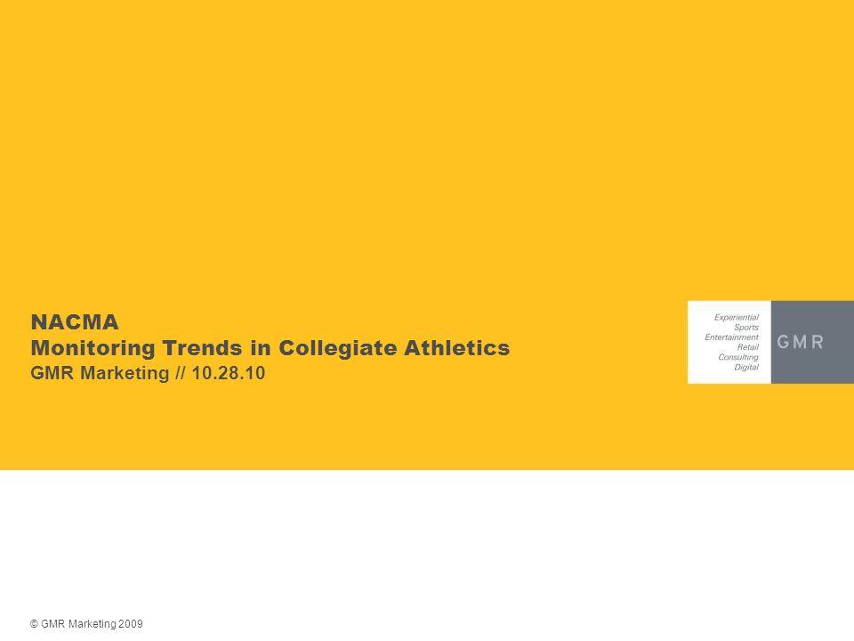 © GMR Marketing 2009 NACMA Monitoring Trends in Collegiate Athletics GMR Marketing // 10.28.10