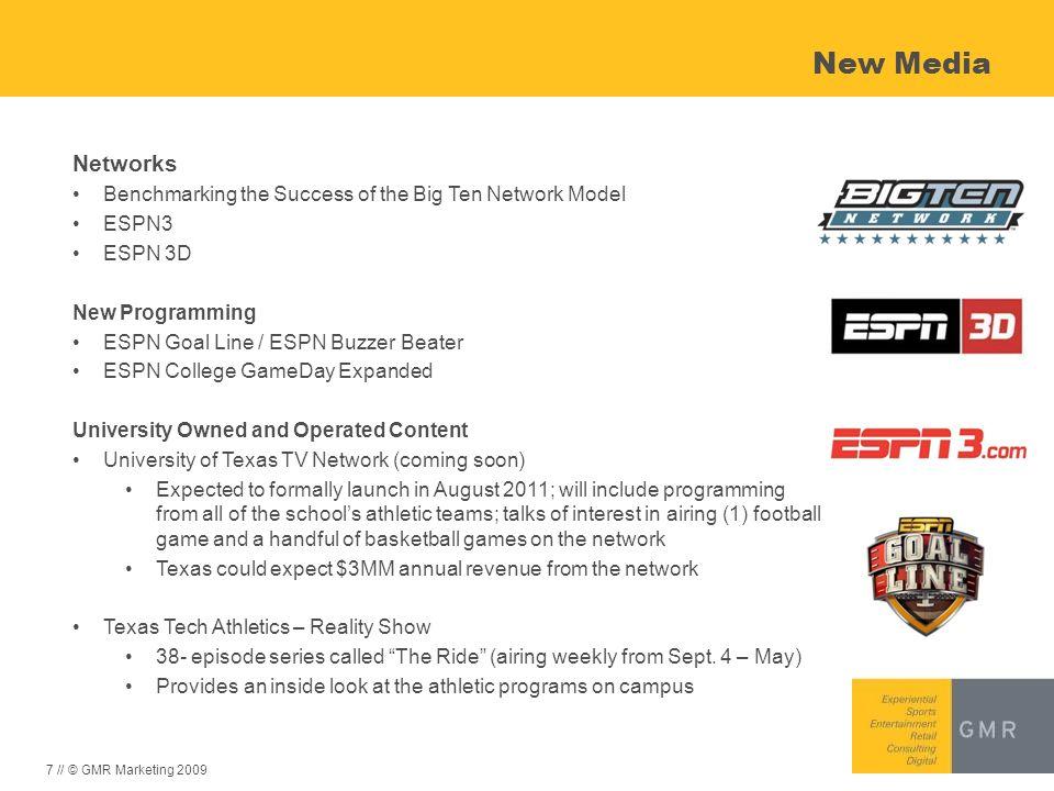 7 // © GMR Marketing 2009 New Media Networks Benchmarking the Success of the Big Ten Network Model ESPN3 ESPN 3D New Programming ESPN Goal Line / ESPN