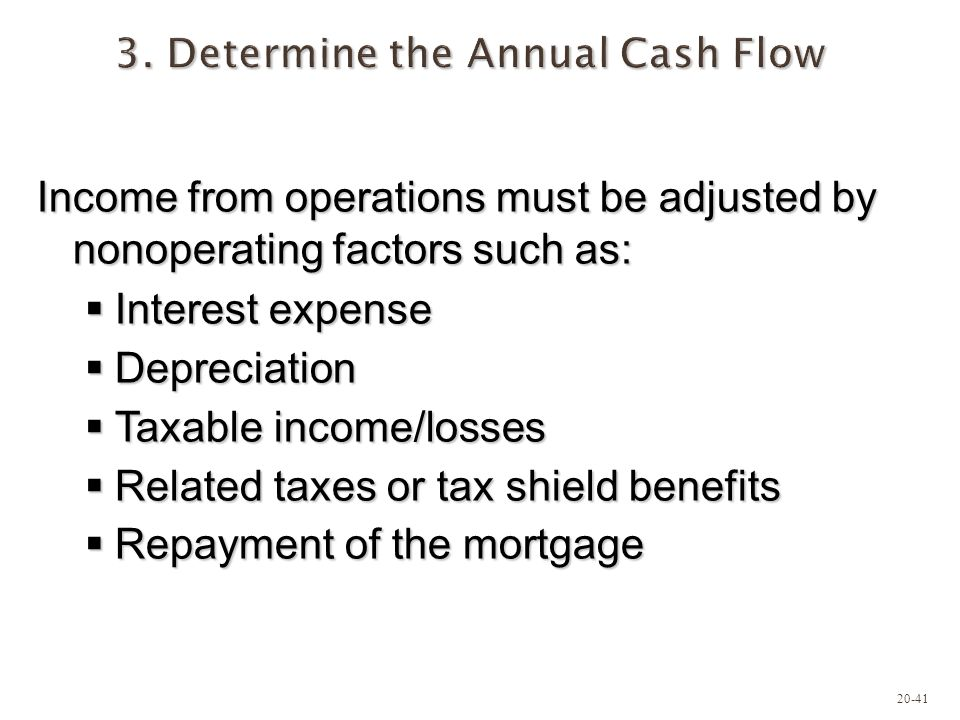 20-41 3. Determine the Annual Cash Flow Income from operations must be adjusted by nonoperating factors such as: Interest expense Interest expense Dep