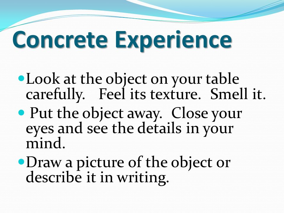 Concrete Experience Look at the object on your table carefully.