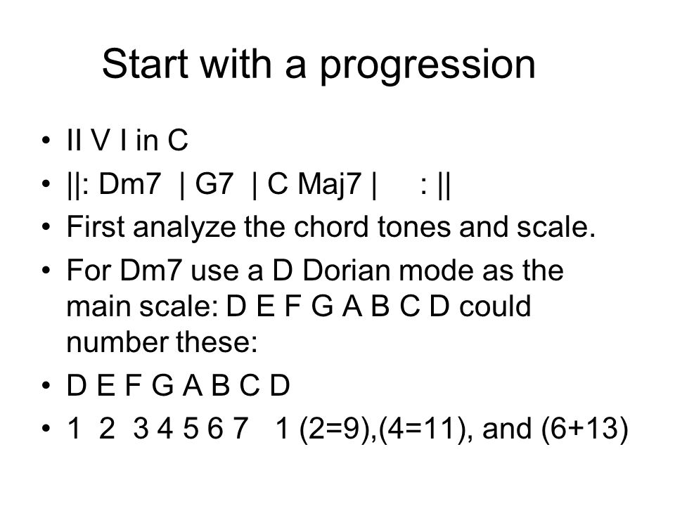 Start with a progression II V I in C ||: Dm7 | G7 | C Maj7 | : || First analyze the chord tones and scale. For Dm7 use a D Dorian mode as the main sca