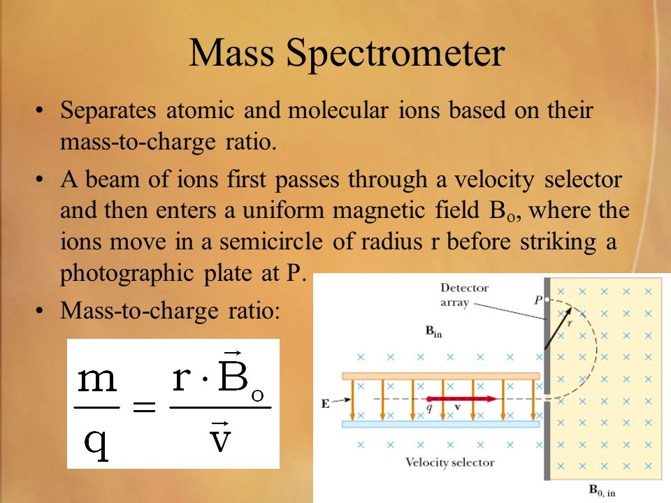 Mass Spectrometer Separates atomic and molecular ions based on their mass-to-charge ratio.