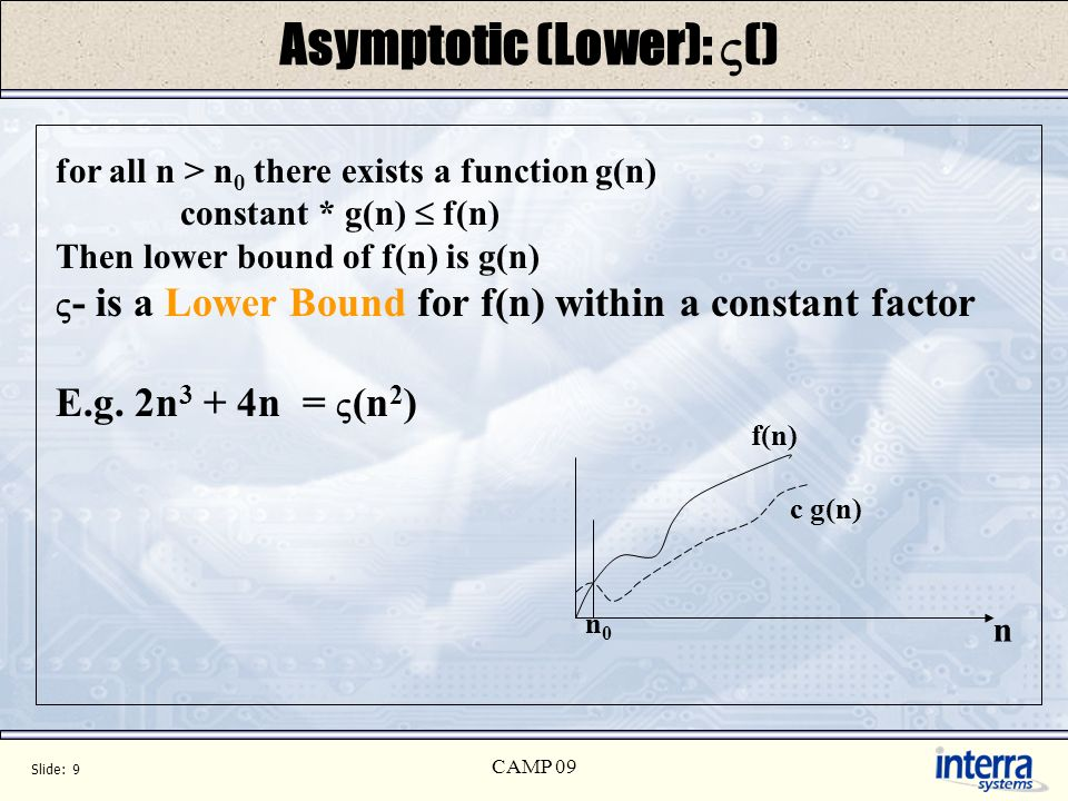 Slide: 9 CAMP 09 Asymptotic (Lower): () for all n > n 0 there exists a function g(n) constant * g(n) f(n) Then lower bound of f(n) is g(n) - is a Lowe