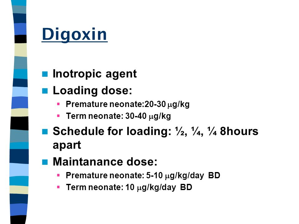 Digoxin Inotropic agent Loading dose: Premature neonate:20-30 g/kg Term neonate: 30-40 g/kg Schedule for loading: ½, ¼, ¼ 8hours apart Maintanance dos