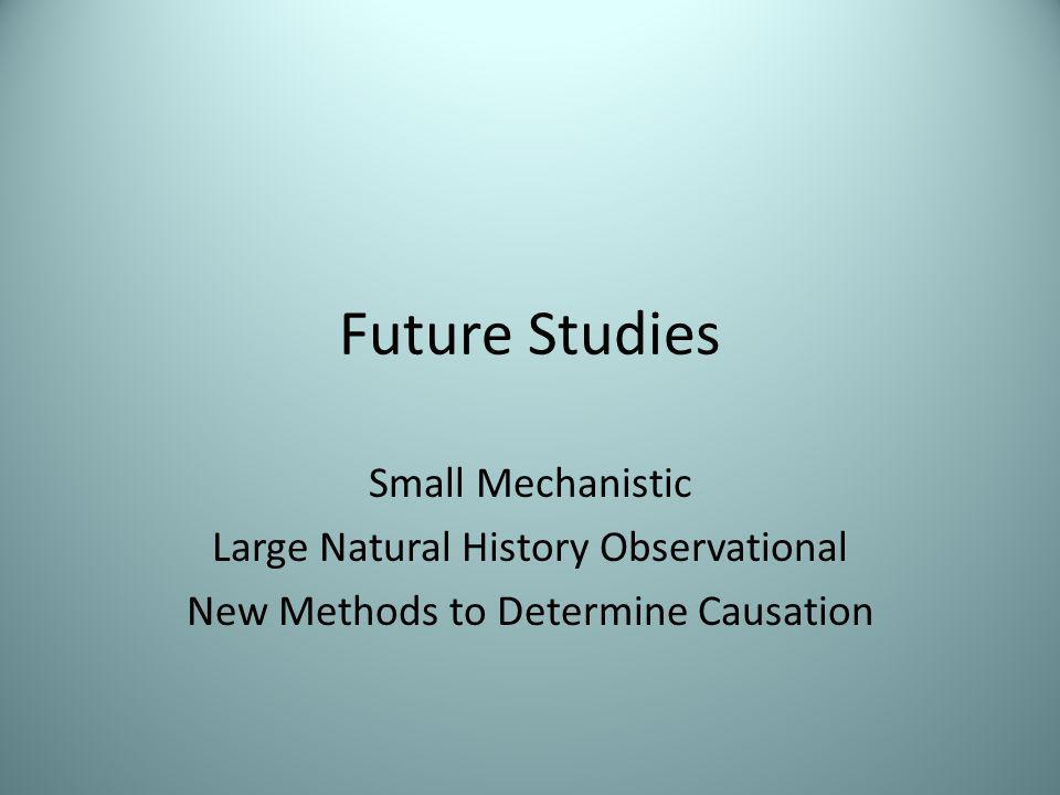 Future Studies Small Mechanistic Large Natural History Observational New Methods to Determine Causation