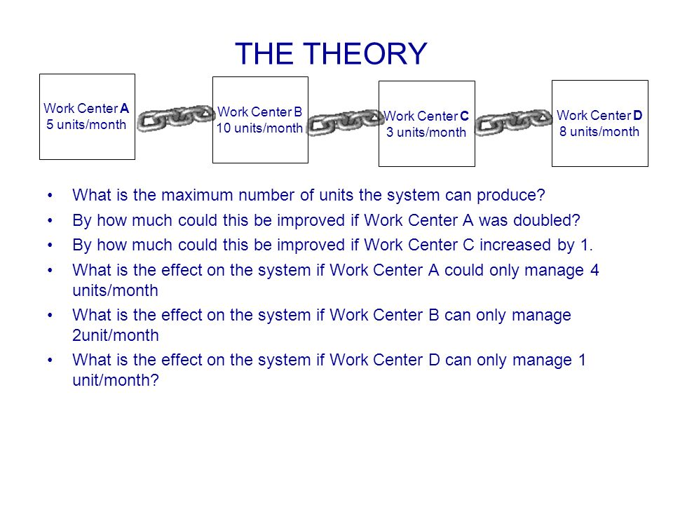 THE THEORY What is the maximum number of units the system can produce? By how much could this be improved if Work Center A was doubled? By how much co