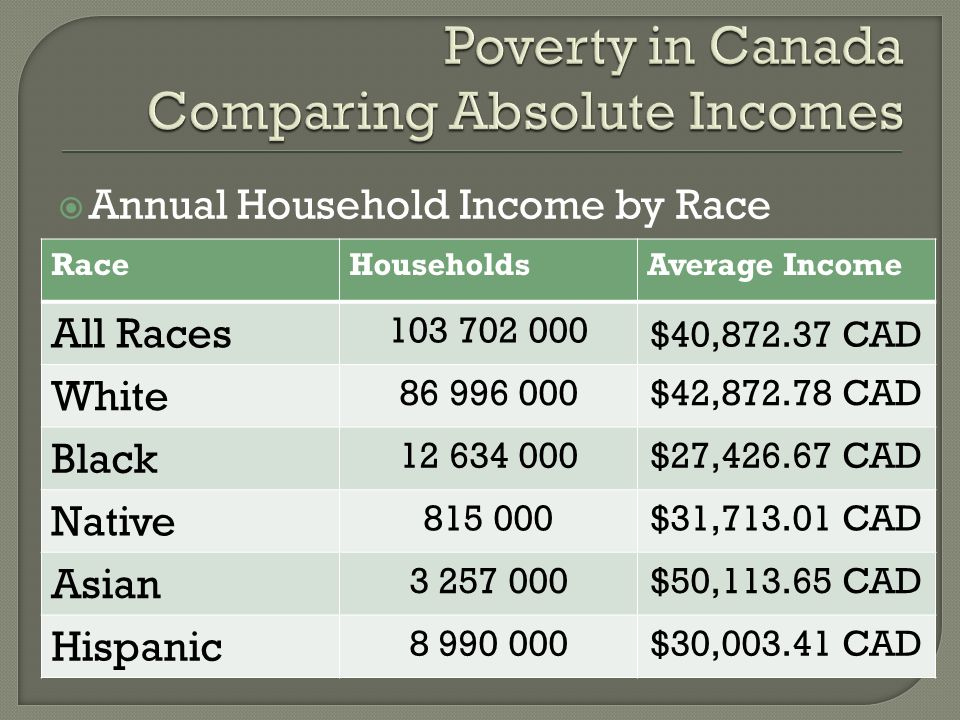 Annual Household Income by Race RaceHouseholdsAverage Income All Races 103 702 000 $40,872.37 CAD White 86 996 000$42,872.78 CAD Black 12 634 000$27,4