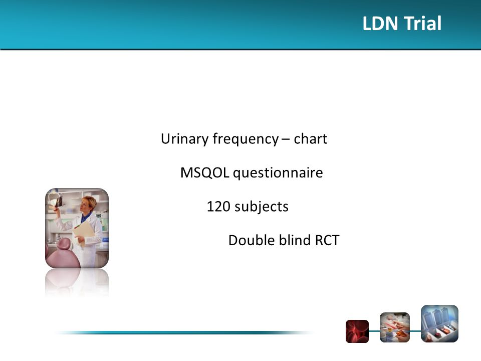 LDN Trial Urinary frequency – chart MSQOL questionnaire 120 subjects Double blind RCT
