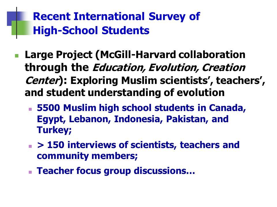 Recent International Survey of High-School Students Large Project ( McGill-Harvard collaboration through the Education, Evolution, Creation Center ):