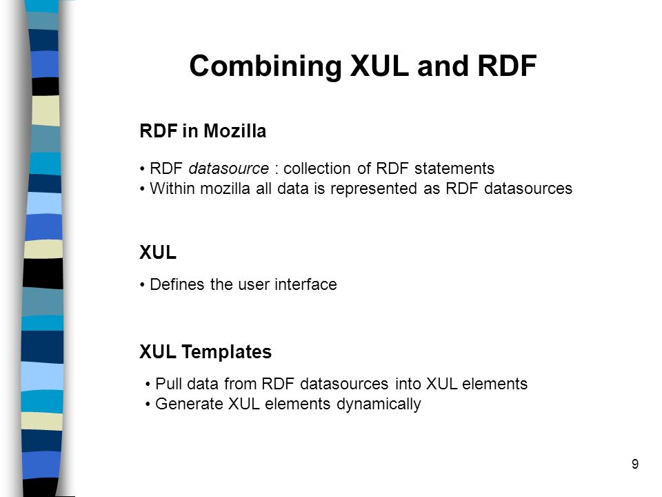 10 The Big Picture Datasource (collection of rdf statements ) XUL (with templates) mozilla Dynamic Content