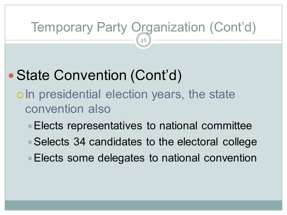 Temporary Party Organization (Contd) State Convention (Contd) In presidential election years, the state convention also Elects representatives to nati